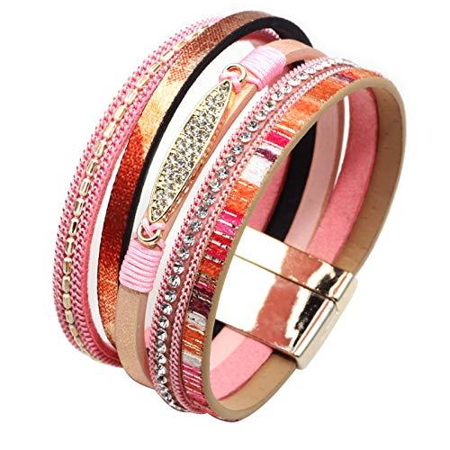 MUERDOU Infinity Leather Cuff Bracelets for Women Handmade Wrap Bangle Boho Bracelets Gifts for Women Teen Girl Pink