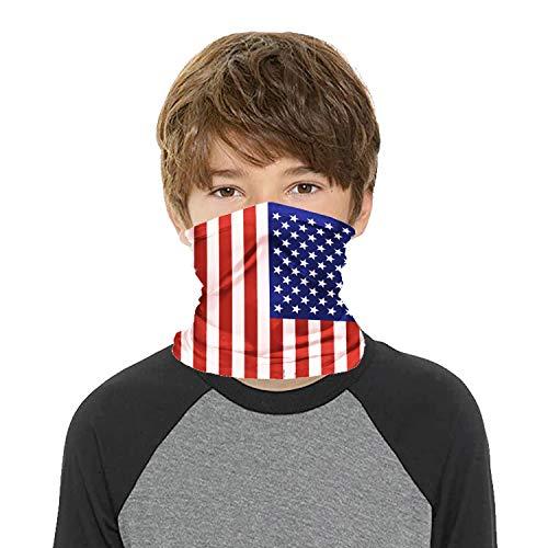 YSZJH Kids Face Covering Mask Bandanas Neck Gaiter, Sun UV Protection Reusable Washable Cool Scarf Headbands Balaclava (Style A- American Flag)