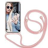 GoodcAcy Funda con Cuerda para iPhone 13 Pro,Carcasa Silicona Líquida con Cuerda iPhone 13 Pro,Correa Colgante Ajustable Collar Correa de Cuello Cadena Cordón Case para iPhone 13 Pro, Pink
