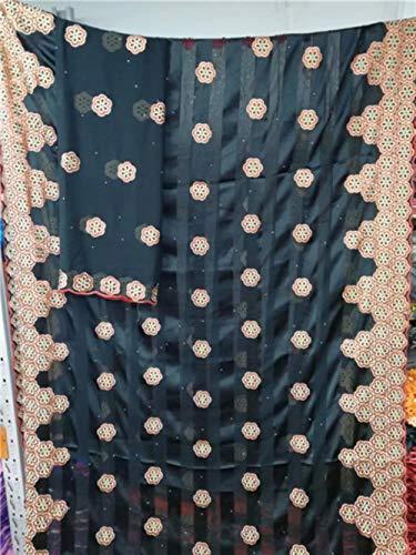 PENVEAT Afrikanische Nigerian Spitzegewebe 2019 hochwertige echte Seidenstoff mit Steinen Band Seidenorganza Gewebe für Kleid 7yards, YC12073S6