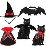 5 Piezas Disfraz para Gato de Halloween Alas de Disfraz de Murciélago Capa de Gato Sombrero de Mago con Campanas de Calabaza para Disfraz de Mascota de Halloween