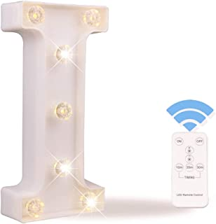 Obrecis White Light Up Marquee LED Letter Sign with Remote Timer Dimmable for Party Wedding Decor, Alphabet Wall Decoration Letter Lights, Letter I
