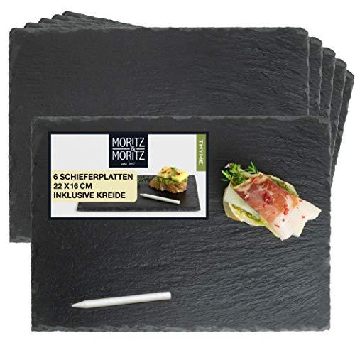 Moritz & Moritz 6 x Schieferplatten Servierplatte 22 x 16 cm mit Kreidestift - Schieferplatte als Buffet Platte zum Anrichten und Dekorieren