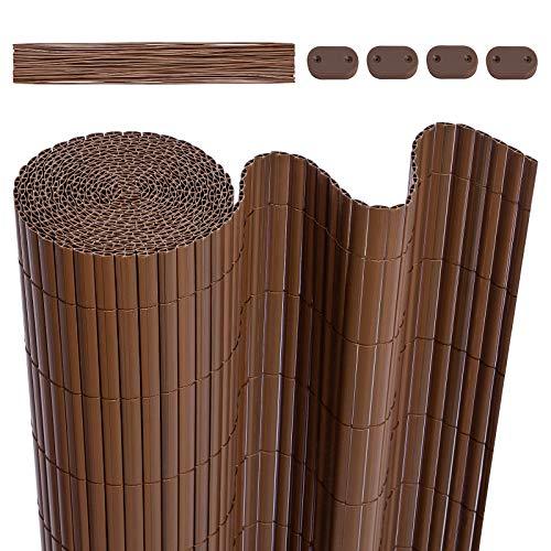 LARMNEE PVC Sichtschutzmatte, 90 x 600 cm Balkonverkleidung, Sichtschutzzaun, mit verstärkten Lamellen und Kablebindern, Balkonumrandung, Garten, Balkon, Braun EBR096LB02