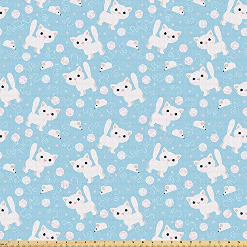 ABAKUHAUS Baby Stof per strekkende meter, Vermakelijke Kat met Garen, Stretch Gebreide Stof voor Kleding Naaien en Kunstnijverheid, 1 m, Blue Cream