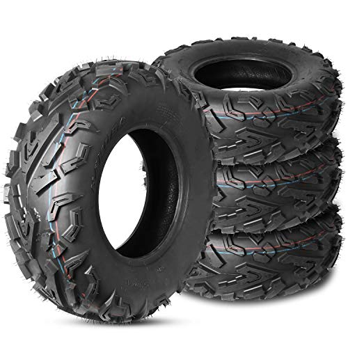 Weize Set of 4 ATV/UTV Tires 2 x Front 25X10.00-12 & 2 x Rear 25-10-12 P3056 6PLY