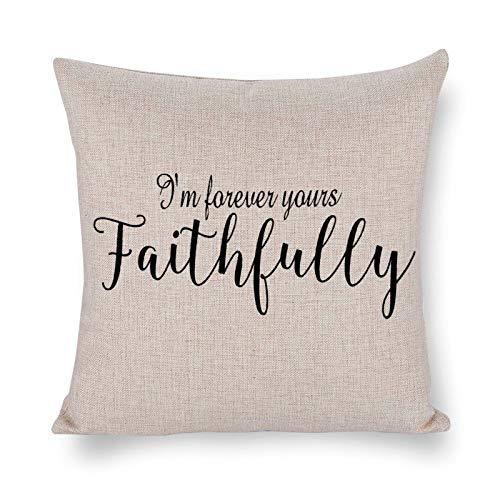 Blafitance I'm Forever Yours Faithfull - Federa decorativa in lino con citazione motivazionale, decorazione rustica per la casa, 45 x 45 cm