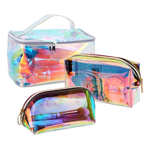 Holographic Cosmetic Bag Clear Makeup Bag Travel Makeup Pouch Toiletry Organizer Waterproof Pencil Case Gifts for Women Girls (Set of 3)
