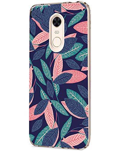 Caler Funda Xiaomi Redmi 5 Plus Case, Suave TPU Gel Silicona Ultra-Delgado Ligera Anti-rasguños Carcasa Dibujos Protección Patrones Animal Lindo (Hojas Frescas)