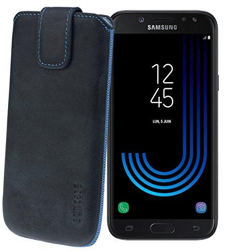Suncase Original Etui Tasche für Samsung Galaxy J7 2017 (DuoS) | mit ZUSÄTZLICHER Hülle/Schale/Bumper *Lasche mit Rückzugfunktion* Handytasche Ledertasche Schutzhülle Hülle Hülle in Pebble-Blue