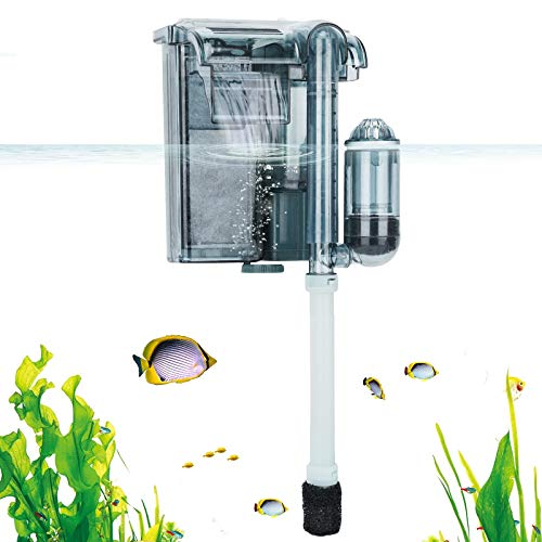 AQQA Aquarium Hang On Filter, Submersible Hanging Activated Carbon Biochemical Cotton 3 in 1 Filter Media Adjustable Water Flow with Oxygen Pump, Surface Skimmer for Turtle Betta Fish Tank 5-10 Gal