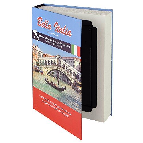 HMF 80935 caja fuerte en forma de libro, caja de caudales camuflada, páginas de papel auténticas,'Bella Italia', 23 × 15 × 4 cm, rotulación en italiano