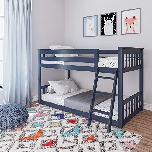 Product Image of the Max & Lily Solid Wood Twin Low Bunk Bed, Blue