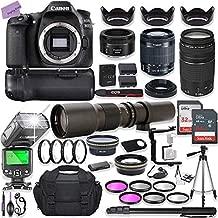 Canon EOS 80D DSLR Camera w/ 18-55mm Lens Bundle + Canon 75-300mm III Lens, Canon 50mm f/1.8 & 500mm Preset Lens + Battery Grip + Deluxe Case + 96GB Memory + Speedlight Flash + Professional Bundle