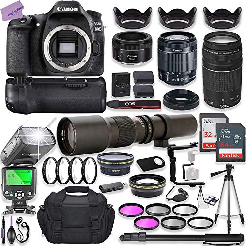 Canon EOS 80D DSLR Camera w/ 18-55mm Lens Bundle + Canon 75-300mm III Lens, Canon 50mm f/1.8 & 500mm Preset Lens + Battery Grip + Deluxe Case + 96GB Memory + Speedlight Flash + Professional Bundle