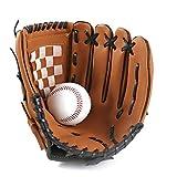 Canjerusof 1PC Deportes Béisbol y Softbol Guante Profesional de béisbol y Softball Mitt con Soft PU sólida Engrosamiento de Piel Jarra para Niños y Adultos (Brown, 12.5Inch)