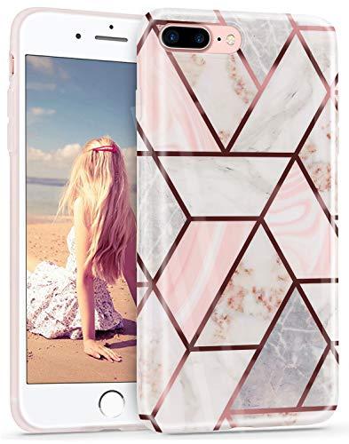 Imikoko Hülle für iPhone 7 Plus/iPhone 8 Plus Glitter Bling Rosegold Handyhülle TPU Silikon Weiche Schlank Schutzhülle Handytasche Flexibel Case Handy Hülle