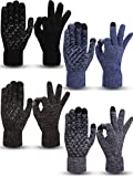 4 Pairs Winter Knit Touchscreen Gloves Warm Texting Gloves Elastic Anti-slip Gloves for Adults (Black, Black Grey, Black White, Navy, L)