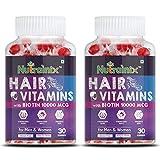 Nutrainix Hair Vitamins Gummies with Biotin for Hair Growth | Skin Glow & Longer Nails |- 60 Veg...