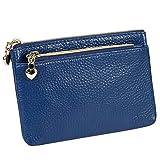Women's Genuine Leather Coin Purse Zipper Pocket Size Pouch Change Wallet, Royal Blue