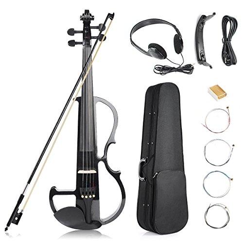 Vangoa - Black Full Size 4/4 Solid Wood Metallic Electronic Silent Mahogany Violin