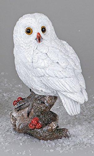 Formano Eule Owl Eulen-Figur Deko-Kautz Herbsteule Herbstdeko/Weihnachten Schneeeule Wintereule Weiß Stehend 18cm Groß