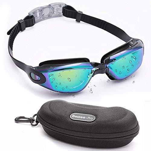 BEZZEE PRO Zwem bril, Zwem Bril Geen Lekkage met Gratis Bescherm Doos UV Beschermd Triathlon Unisex voor Volwassen Dames en Heren