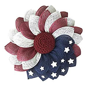 Amosfun Patriotic Wreath American Flag Decor Front Door Decorations- American Patriotic Fabric Flower Wreath- Cemetery Wreaths for Graves Heart Front Door- United States Independence Day Wreath