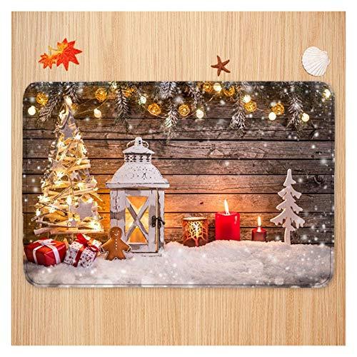 HHOSBFSS Navidad no Slip Mat Entrada Puerta del baño Cubierta de poliéster Tela impresión a una Cara de la Alfombra Felpudo Decoración (Size : 60x100cm)