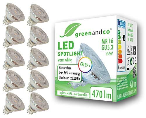 10x greenandco® CRI97+ 2700K 110° LED Spot ersetzt 45W GU5.3 MR16, 6W 470lm warmweiß 12V AC/DC, flimmerfrei, nicht dimmbar, 2 Jahre Garantie