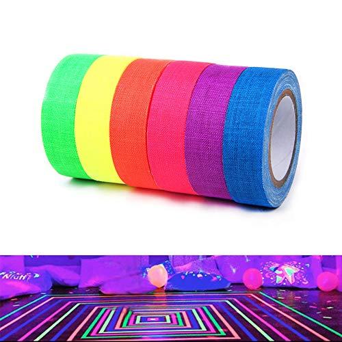 Cinta fluorescente de tela – Cinta de neón reactiva con luz negra UV para decoración de fiestas y suministros de festividad/asegura cables 6 colores 0.6 pulgadas x 16.4 pies