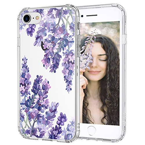 MOSNOVO Lavender Floral Flower Pattern Designed for iPhone SE 2020 Case/Designed for iPhone 8 Case/Designed for iPhone 7 Case - Clear