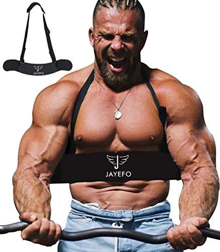 Jayefo Sport Arm Blaster for Curl Bar Arm Biceps Triceps Dumbbells & Barbells Bicep Isolator Strength Curling Muscle Gains Preacher Bar Bodybuilding Weightlifting (Black)