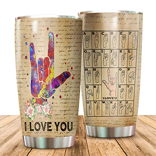 BLOCK OF GEAR Travel Tumbler with Lid-I Love You - Alphabet Sign Language ASL Gifts Tumbler, White, 30oz Sport Bottle Stainless Steel Vacuum Insulated Tumbler, Gift Christmas Birthday