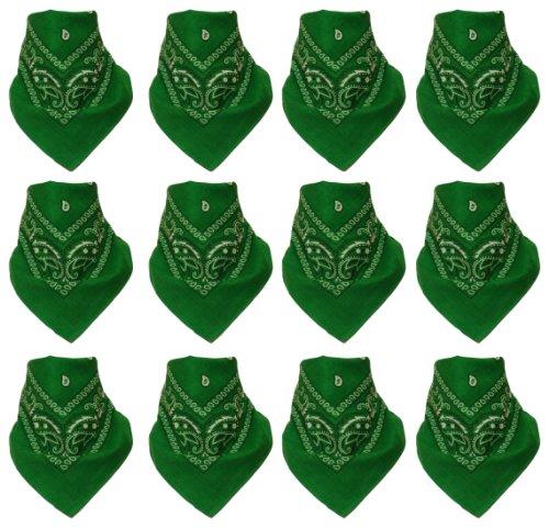 Lot de 12 Bandanas avec motif Paisley original | Couleur au choix, 12 vert, One Size