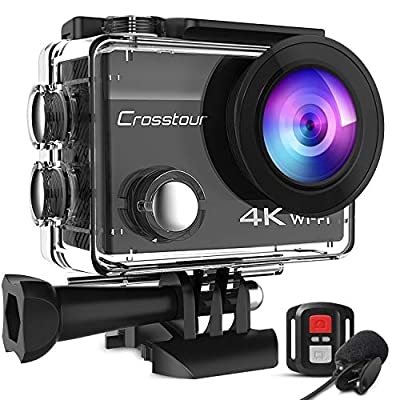 Crosstour CT8500 4K 20MP Action Camera External Microphone PC Webcam WiFi Vlogging Camera EIS Underwater 40M Waterproof Camera with Remote Control and Mounting Accessories Kit from Crosstour
