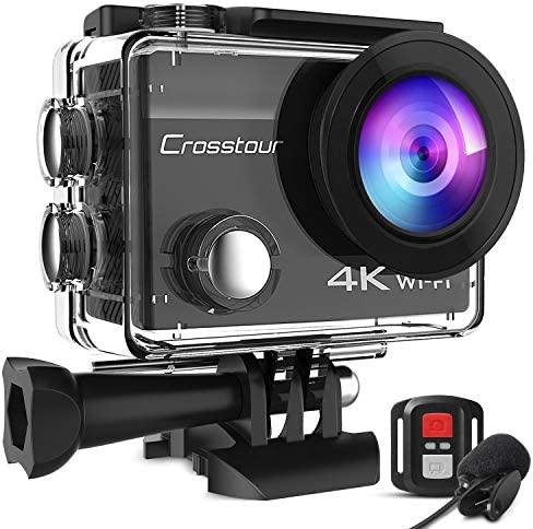 Crosstour CT8500 4K 20MP Action Camera External Microphone PC Webcam WiFi Vlogging Camera EIS product image