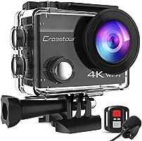 Crosstour 運動相機 4K高畫質2000萬像素 web攝像頭 水中攝像頭 外部麥克風 附帶遙控器 Wi-Fi 水深30m拍攝 手抖補償 定時循環錄像 防水 防塵 耐沖擊 2英寸液晶畫面 HDMI輸出 170度廣角...