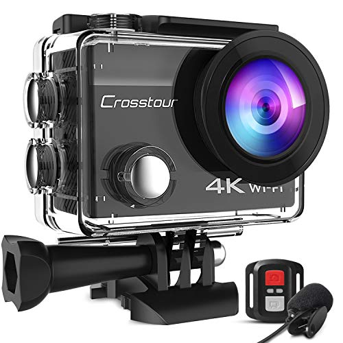 Action Camera 4K 20MP Underwater with External Microphone PC Webcam Crosstour CT8500 WiFi Vlogging Cam EIS 40M Waterproof Camera with Remote Control and Mounting Accessories Kit