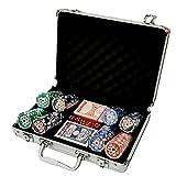 Maletín Poker Profesional 200 fichas de Poker, Incluye tapete. Maletín de Aluminio. Set Profesional de póker con fichas.Fichas marcadas con Valor. Cartas Dados Poker