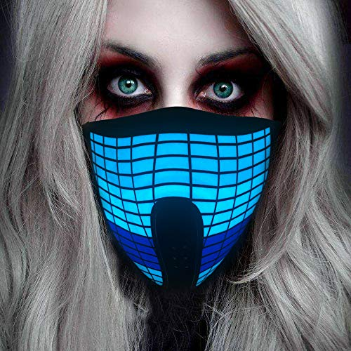 Halloween Mask Neon Mask led mask Scary Mask Light up Mask Cosplay Mask Lights up for Halloween Festival Party (Equalizer)