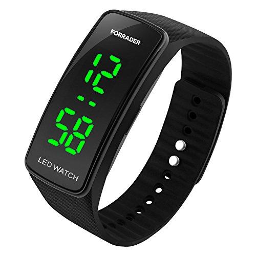 Forrader Mannen Vrouwen Unisex LED Sport Horloge met Datum Functie Rubber Armband Horlogeband