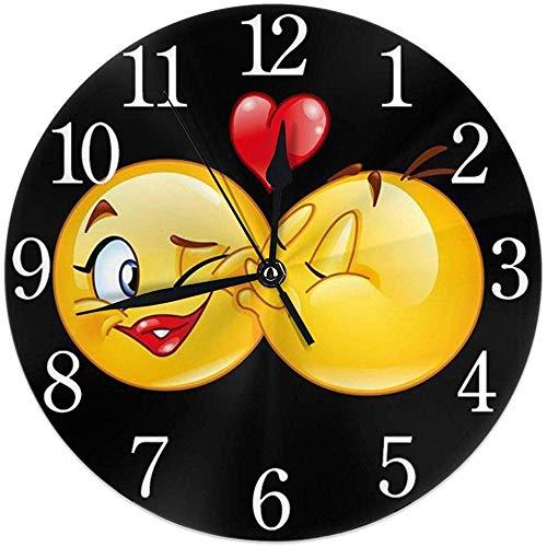 Cy-ril Emoticon Masculino Besando Un Emoticon Femenino Reloj de Pared Redondo Silencioso Sin tictac Funciona con Baterías Fácil de Leer Inicio Reloj Decorativo Arte