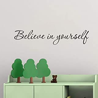 TOARTi Believe in Yourself Quote Wall Decal, Inspirational Lettering Sticker Mirror Decor,(Black) Motivational Inspiring Words Mural Art for Office Classroom Decoration