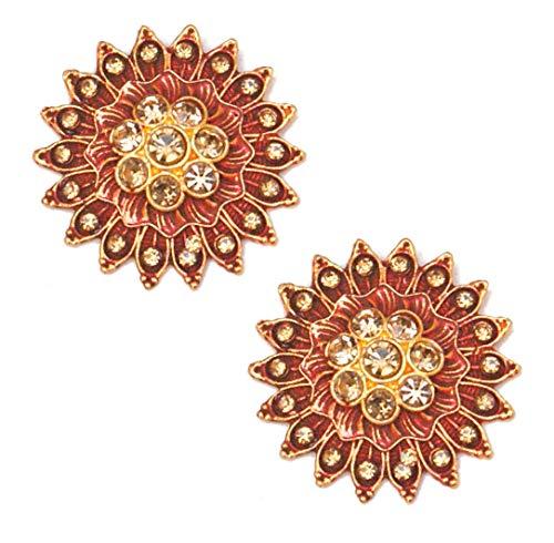Pahal - Pendientes Jaipur tradicionales de oro Jhumka pintados de color rojo oscuro para mujer