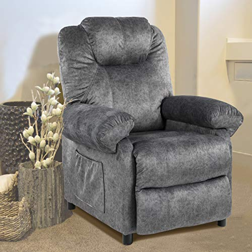 Kasorix Flannelette Recliner Chair Single Recliner Recliners for Small Spaces Theater Chair Lounge Chairs for Bedroom Theater Seating Living Room Chair Futon Chair (Light Grey-1030)