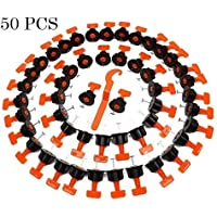 TOPWAY Tile Leveling System 50pcs Pack Reusable Tile Levelers Spacers for Building Walls Floors + Special Wrench