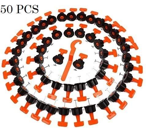 TOPWAY Fliesenausgleichssystem 50 Stück Packung Wiederverwendbare Fliesenausgleicher Abstandhalter für den Bau von Wandböden + Spezialschlüssel