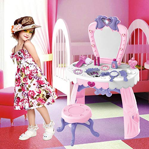 YFF Girls Vanity Dresser Table Playset with Mirror & Lights/Vanity Table with Fashion & Makeup Accessories/Best Gift for Christmas Day & Birthday (Pink)
