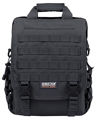 "Seibertron Waterproof Molle Tactical 14""(inch) Laptop Sling BAG Backpack Black"